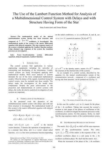 ) ( ) The Use of the Lambert Function Method for Analysis of a ... - ijiet