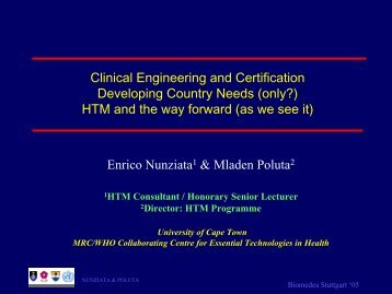CE and Certification, the Needs in Developing Countries - biomedea