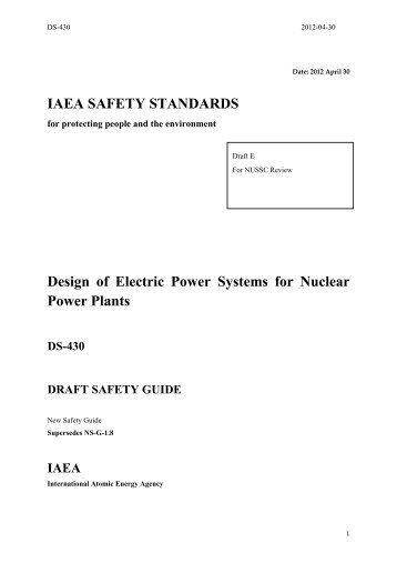 Design of Electric Power Systems for Nuclear Power Plants DS-430 ...