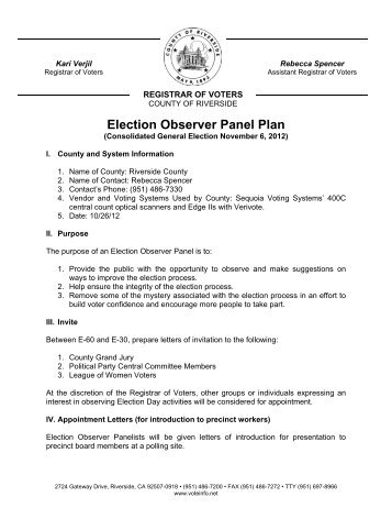 Election Observer Panel Plan - Riverside County Registrar of Voters