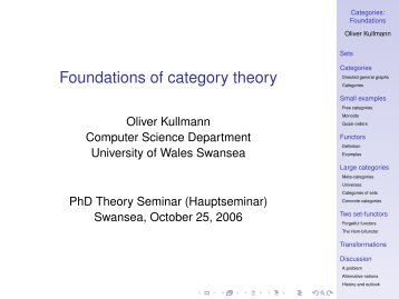 Foundations of category theory - Department of Computer Science