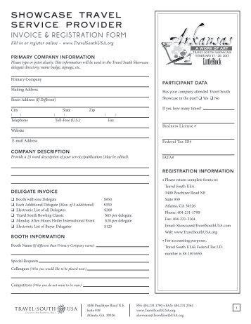 showcase travel service provider invoice ... - Travel South USA
