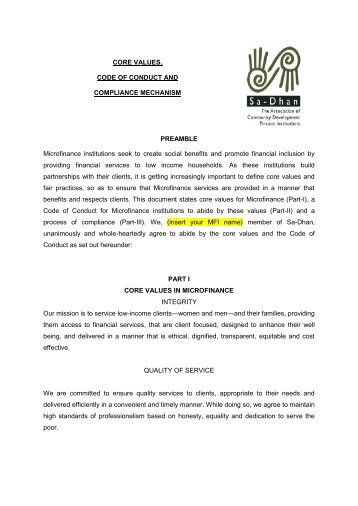 Code of Conduct for Microfinance institutions - Sa-Dhan