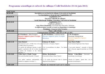 Programme scientifique et culturel du colloque Ci-dit Stockholm (14 ...