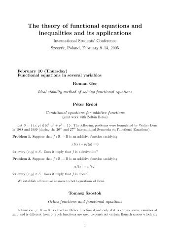 The theory of functional equations and inequalities and its applications