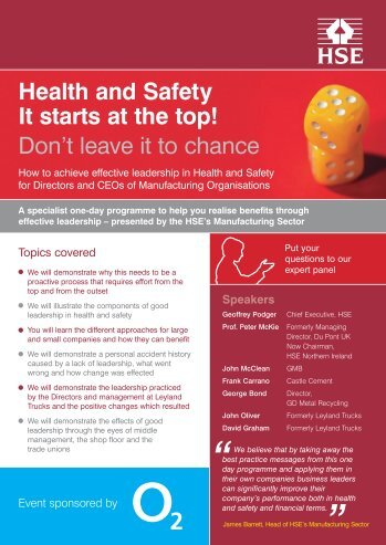Health and Safety It starts at the top! Don't leave it to ... - British Precast