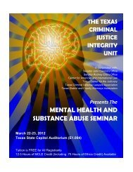 mental health and substance abuse seminar - Court of Criminal ...