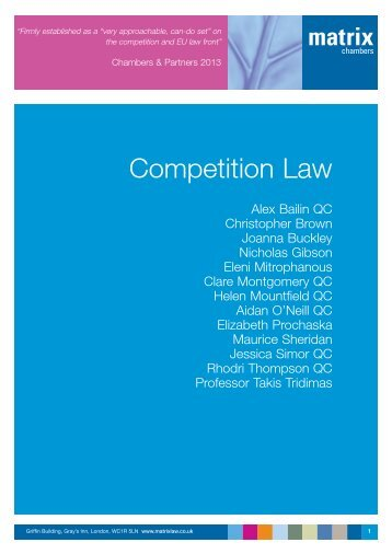 Competition Law Brochure - Matrix Chambers