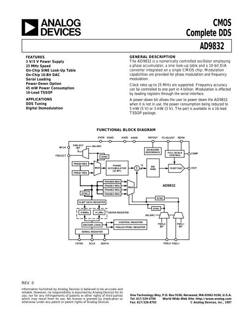 AD9832 CMOS Complete DDS