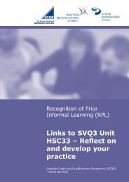 RPL Links to SVQ3 - Scottish Credit and Qualifications Framework