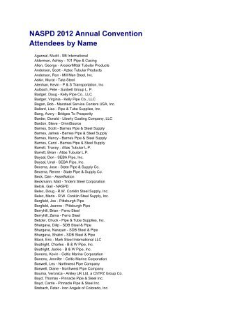 NASPD 2012 Annual Convention Attendees by Name