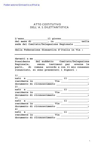 Modello atto costitutivo presso C.R. - Comitato Regionale Campania ...