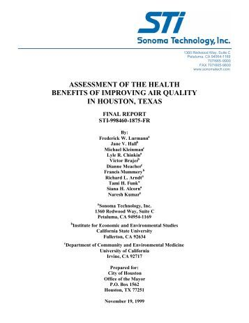 assessment of the health benefits of improving air ... - Green Houston