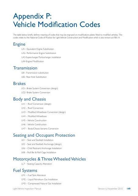 Appendix P Vehicle Modification Codes Transport