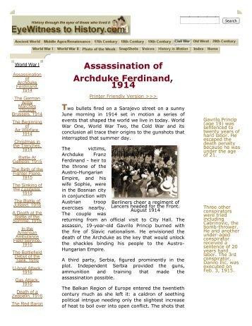 Assassination of Archduke Ferdinand, 1914 - Rowland High School