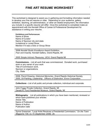 fine art resume worksheet kendall college of art and design