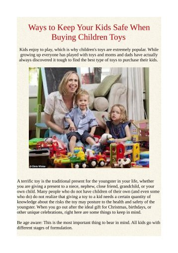 Ways to Keep Your Kids Safe When Buying Children Toys