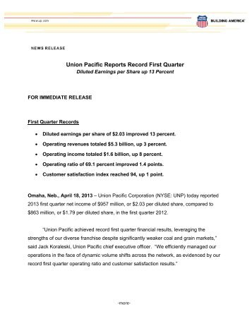 Quarterly Earnings Press Release - Union Pacific