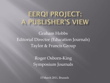 EERQI Project: A Publisher's View (PDF)
