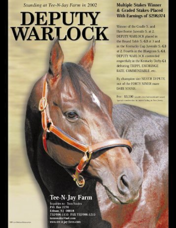 deputy warlock - Thoroughbred Breeders' Association of New Jersey