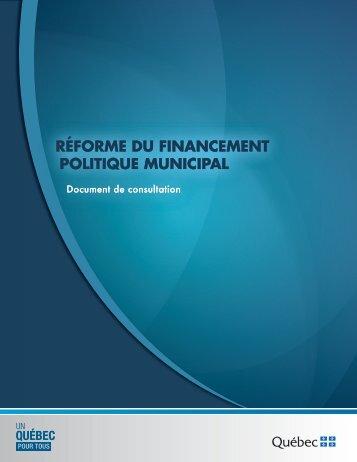 Réforme du financement politique municipal - Affaires municipales ...