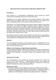 Admission Policy for King Solomon High School September 2011 ...