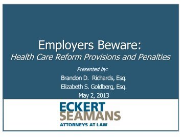Employers Beware: Health Care Reform ... - Eckert Seamans