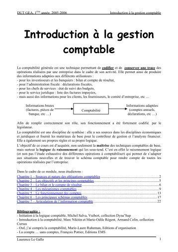 Introduction à la gestion comptable - IUT Bayonne