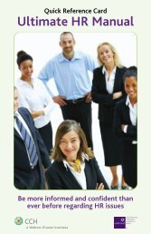 Ultimate HR Manual Quick Reference Card - CCH Canadian
