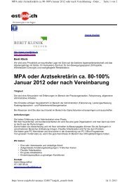 MPA oder Arztsekretärin ca. 80-100% Januar 2012 ... - Berit Klinik