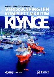 Verdiskaping i en komplett maritim klynge - Norges Rederiforbund