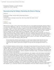 Deconstructing the Subject: Banishing the Ghost of ... - Kurt Danziger