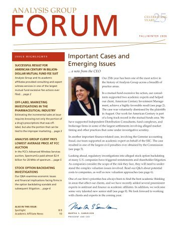 Forum Newsletter, Fall/Winter 2006 - Analysis Group