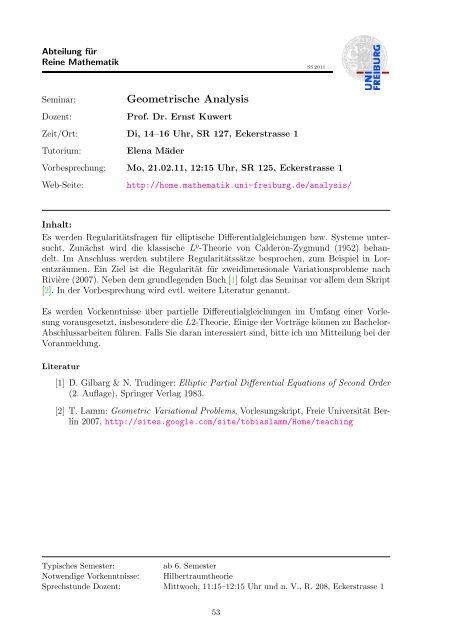 Kommentiertes Vorlesungsverzeichnis SS 2011 - Mathematisches ...