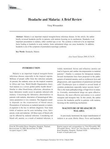Headache and Malaria: A Brief Review - Vol.22 No.1