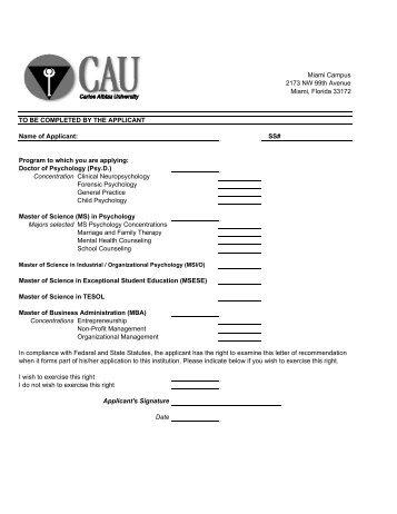 Letter Of Recommendation Form LSUHSC Medical