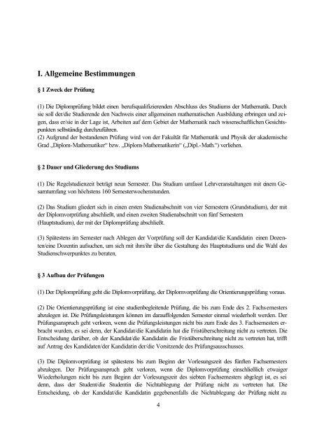 Diplomprüfungsordnung - Mathematisches Institut der Universität ...