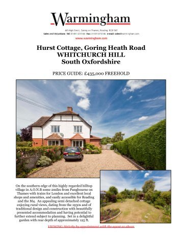 Hurst Cottage, Goring Heath Road WHITCHURCH ... - Warmingham