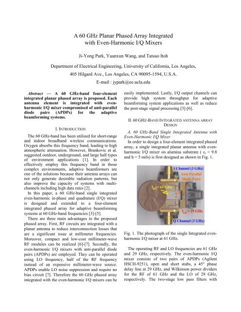 A 60 GHz Planar Phased Array Integrated with - UCLA