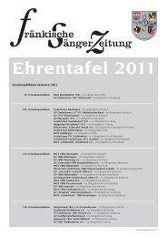 Ehrentafel 2011 - Fränkischer Sängerbund