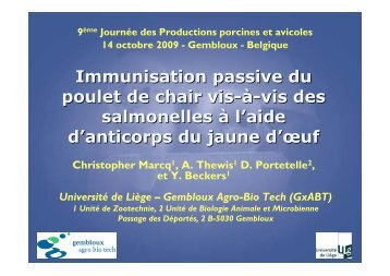 Immunisation passive du poulet de chair vis-à-vis des ... - FACW