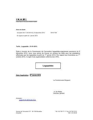 Tarifs des Logopèdes – A partir du 01/01/2013 - Inami