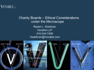 Charity Boards – Ethical Considerations under the ... - Venable LLP