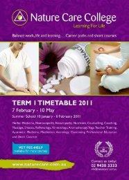 flexible part-time programs - Nature Care College