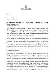 Pressemitteilung Familienfest - Swarovski Kristallwelten