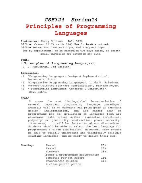 Principles Of Programming Languages Nmt Computer Science