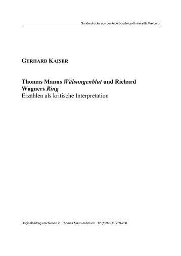 Thomas Manns Wälsungenblut und Richard Wagners Ring