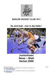 JuniorInnen News – Blatt Herbst 2009 - Basler HC