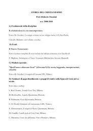 STORIA DEL CRISTIANESIMO Prof. Roberto Osculati a.a. 2000 ...