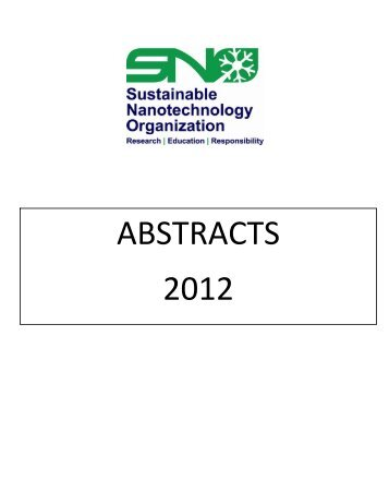 ABSTRACTS 2012 - Sustainable Nanotechnology Organization